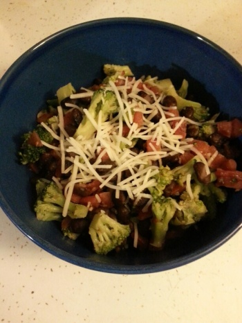 Strange but Good broccoli, black beans tomatoes.