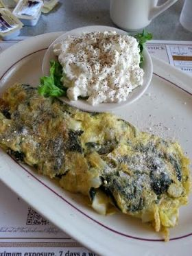 Omelette spinach and onions