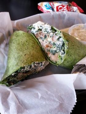 Wrap eggplant, spinach, ricotta
