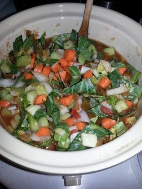 Veggie soup in crock pot