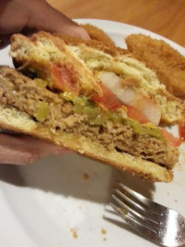 Green chile cheese veggie burger